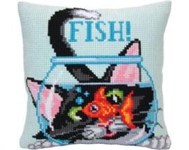 Kussen borduurpakket Catch a Fish - Collection d'Art  cda-5403