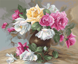 Borduurpakket Vase with Roses - Luca-S    ls-b587