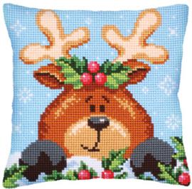 Kussen borduurpakket Christmas with a Fawn - Collection d'Art    cda-5241