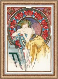 Borduurpakket Girl with Easel after A. Mucha's Artwork - RIOLIS    ri-p100-058
