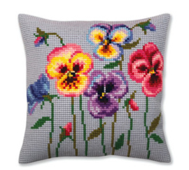 Kussen borduurpakket Pansies - Collection d'Art    cda-5384