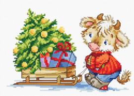 Borduurpakket Calf with Christmas Tree - Luca-S    ls-b1181