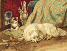 Petit Point borduurpakket The Dog and Cats - Luca-S    ls-g582