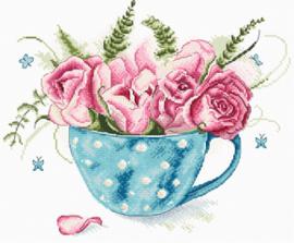 Borduurpakket A cup of Roses - Leti Stitch    leti-0916
