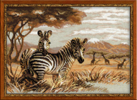 Borduurpakket Zebras in the Savannah - RIOLIS    ri-1143