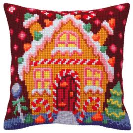 Kussen borduurpakket Gingerbread Lodge - Collection d'Art    cda-5392