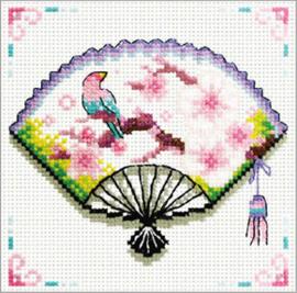 Voorbedrukt borduurpakket Cherry Blossom Fan - Needleart World    nw-nc140-029