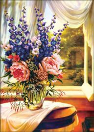 Voorbedrukt borduurpakket Floral Vase by the window - Needleart World    nw-nc750-019
