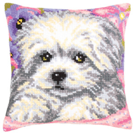 Kussen borduurpakket Little Doggy - Collection d'Art    cda-5203