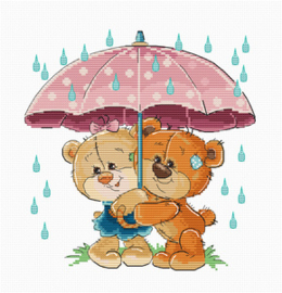 Borduurpakket Teddy Bears Under Umbrella - Luca-S    ls-b1178