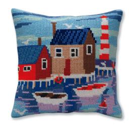 Kussen borduurpakket Serene harbor - Collection d'Art    cda-5388