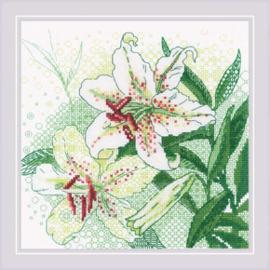 Borduurpakket White Lilies - RIOLIS    ri-1915