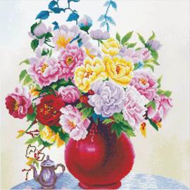 Voorbedrukt borduurpakket Cabbage Roses in a Vase - Needleart World    nw-nc640-057