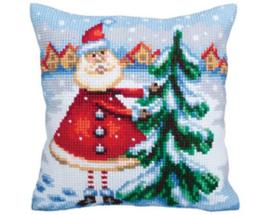 Kussen borduurpakket Santa from Lapland - Collection d'Art    cda-5354