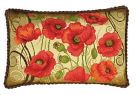 Borduurpakket Oriental Poppies Cushion - RIOLIS    ri-1433