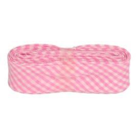 Bosje Biaisband met ruit ruitjes 20 mm / licht roze