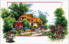 Voorbedrukt borduurpakket English Cottage Lane - Needleart World    nw-nc440-041