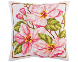 Kussen borduurpakket Pink magnolia - Collection d'Art    cda-5291