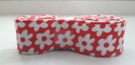 Bosje Biaisband met bloemen 20 mm / rood  wit