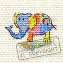 Borduurpakket Patchwork Elephant - Mouseloft    ml-004-l03
