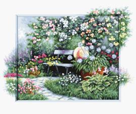 Borduurpakket Blooming garden - Luca-S    ls-bu4012