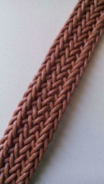 Gevlochten band van leer 30 mm  / Bruin