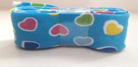Bosje Biaisband met hartjes 20 mm / Blauw met meerdere kleuren