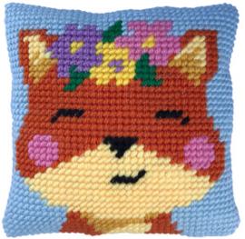 Kussen borduurpakket Spring time Fox - Needleart World  nw-lh03-002