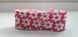 Bosje Biaisband met bloemen 20 mm / roze  wit