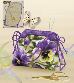 Borduurpakket Pansy pincushion/Bag - RIOLIS    ri-1039