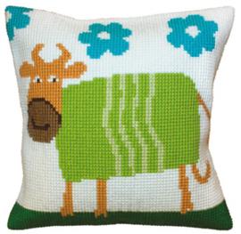 Kussen borduurpakket Cheerful Cow - Collection d'Art    cda-5398