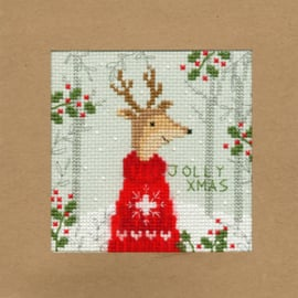 Borduurpakket Christmas Cards - Xmas Deer - Bothy Threads    bt-xmas12