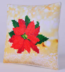 Diamond Dotz Poinsettia Kussentje - Needleart World    nw-ddp02-025