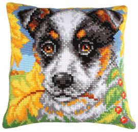 Kussen borduurpakket Dog and Autumn Leaves - Collection d'Art    cda-5211