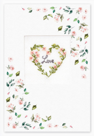 Borduurpakket Postcard - Love Flower - Luca-S    ls-sp099