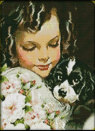 Cross Stitch / Dog and girl