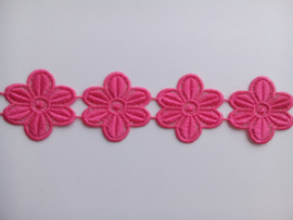 Ets kant / Roze Bloemen band 50 mm breed