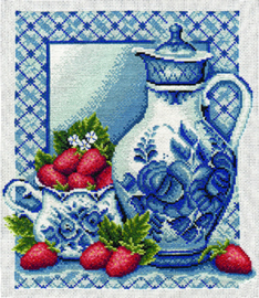 Borduurpakket Strawberries and Cream - PANNA    pan-0270-gf