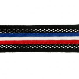 Flexibel Band Gestreept - Rood wit blauw / 30 mm