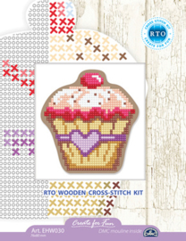 Borduurpakket Houten geperforeerde vorm - Cupcake - RTO    rto-ehw030