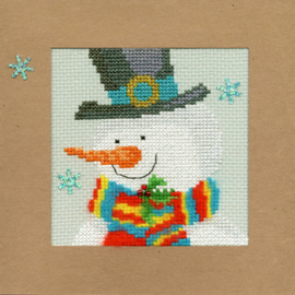 Borduurpakket Christmas Cards - Snowy Man - Bothy Threads    bt-xmas17