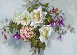 Borduurpakket Bouquet with Roses - Luca-S    ls-ba2363