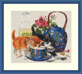 Borduurpakket Kittens & Milk - Merejka    mer-k066