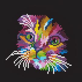Diamond Art Colored Cat - Leisure Arts    la-da01-50460