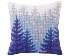 Kussen borduurpakket Winter forest - Collection d'Art    cda-5304