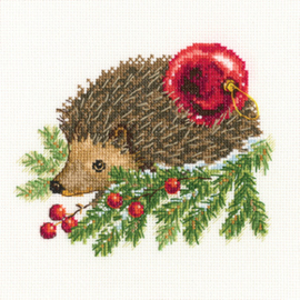 Borduurpakket Hedgehog Decorating Christmas Tree - RTO    rto-c269
