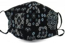 Cirkels zwart zilver  Mondkapje / wasbaar