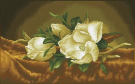 Diamond Dotz Magnolias on gold velvet (après Martin Johnson Heade) - Needleart World    nw-dd12-046