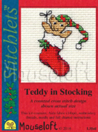 Borduurpakket Teddy in Stocking - Mouseloft    ml-004-l35