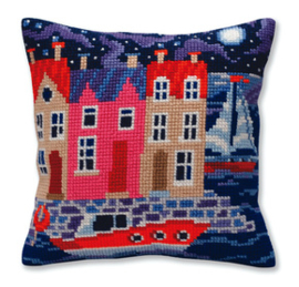 Kussen borduurpakket Night harbor - Collection d'Art    cda-5385